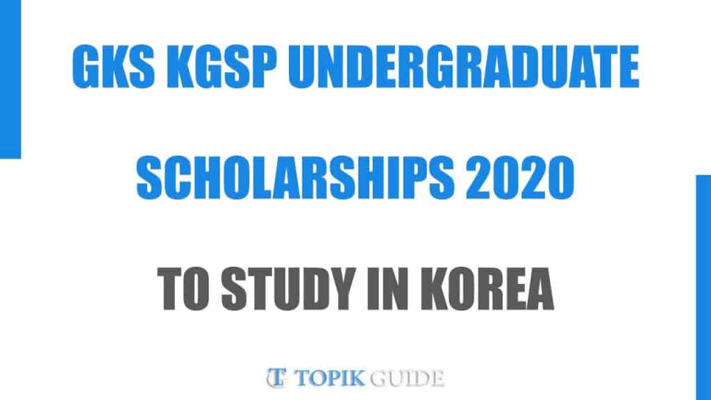 2020 Global Korea Scholarship - NIIED KGSP Undergraduate