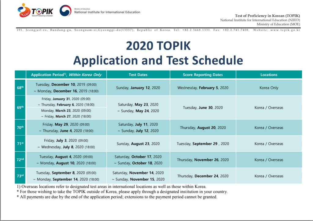 Year 2020 TOPIK Schedule - Updated