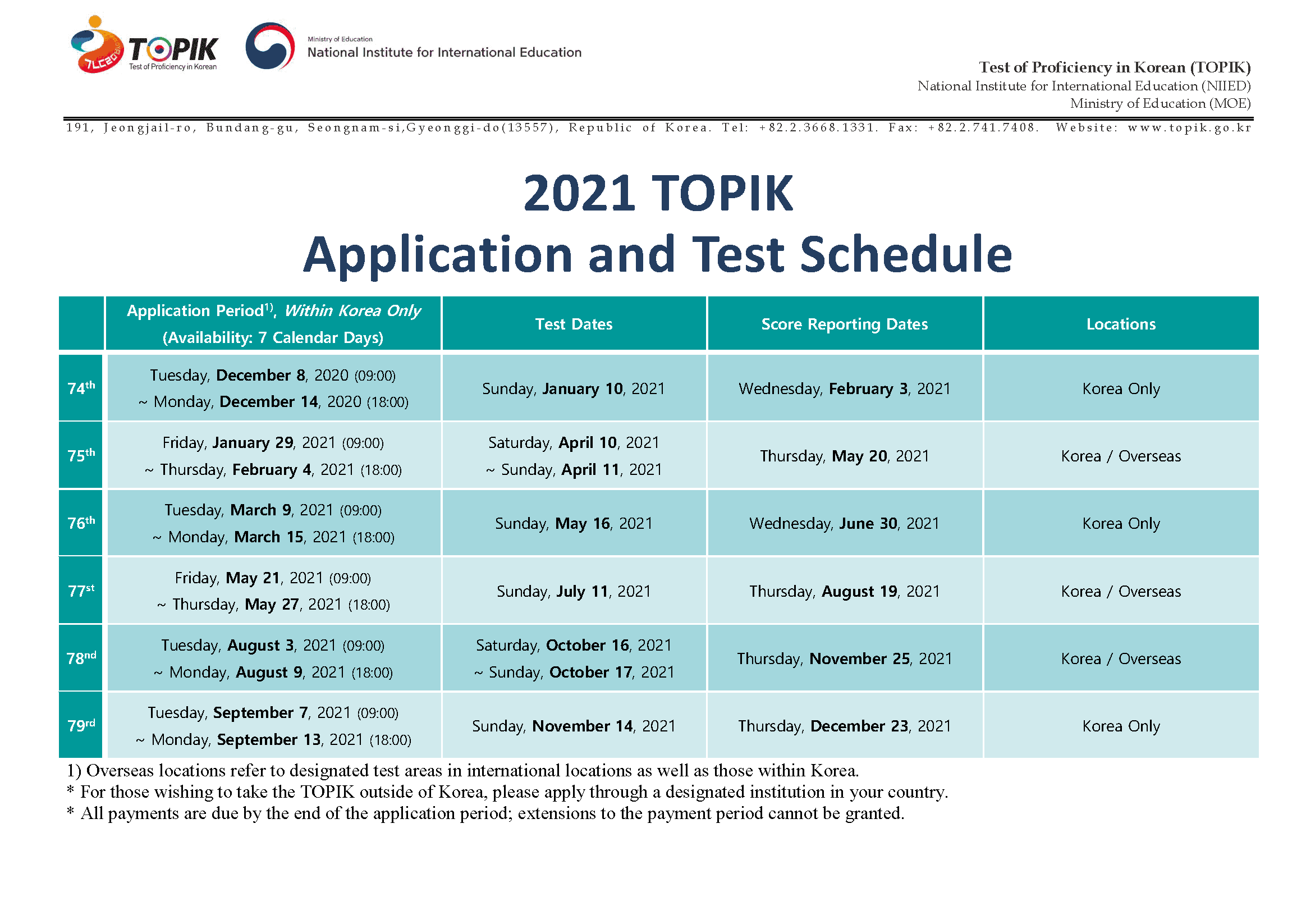 Year 2021 TOPIK Test Schedule in Korea and Overseas(English)