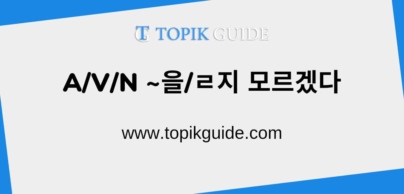 A/V/N ~을/ㄹ지 모르겠다 [ Korean Grammar ]